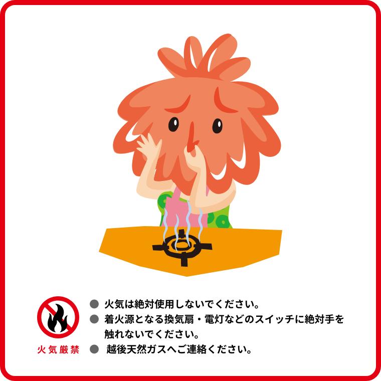 「火気厳禁」火気は絶対に使用しないでください。着火源となる換気扇、電灯などのスイッチに絶対手を触れないでください。越後天然ガスへご連絡ください。